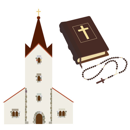 biblia: Conjunto religioso con la iglesia, sagrada biblia, rosario de las gotas del vector aislado, cristiano, cat�lico