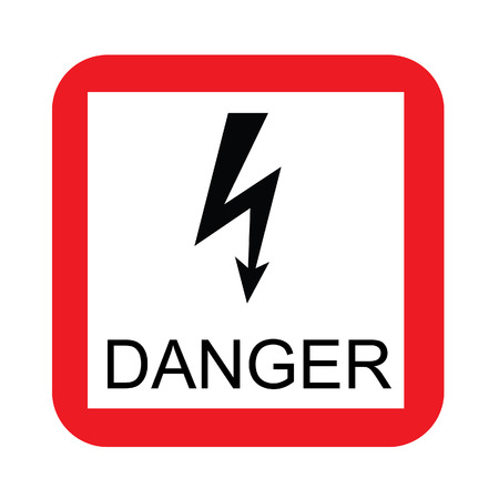 high road: Red and white square danger sign vector icon isolated, road sign, warning sign, safety sign, high voltage