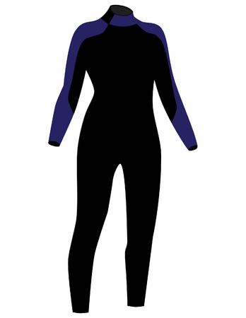 diving: Black and blue diving suit  vector isolated, diving equipment, diving sport Illustration