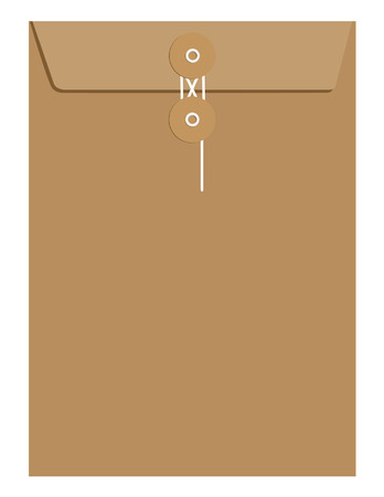 secret: Brown paper sealed with string envelope template vector isolated on white