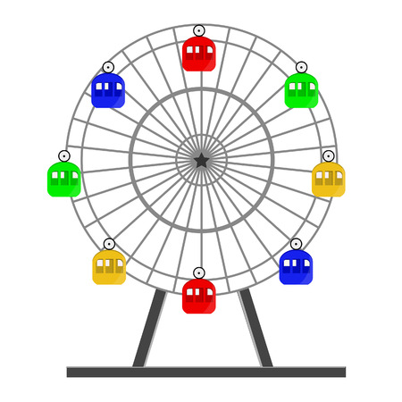 Colorful ferris wheel vector isolated on white, amusement park, carousel, sky,up