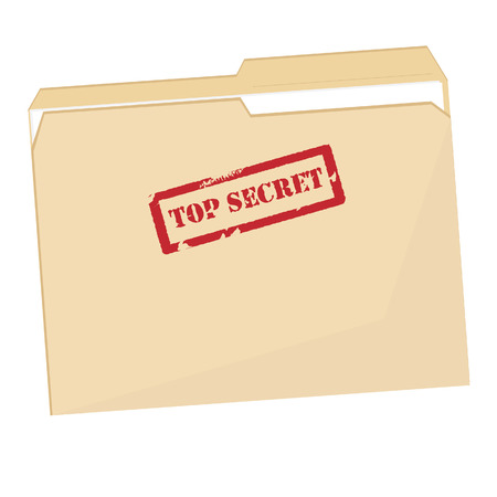 private information: File folder with red rubber  stamp top secret vector isolated, confidential, private information Illustration