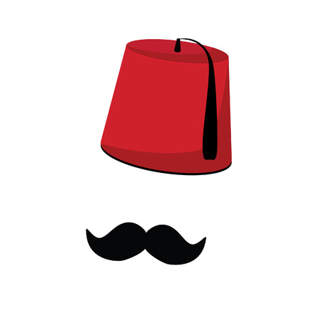 fez: Red turkish hat fez and black mustache vector isolated, turkish symbols