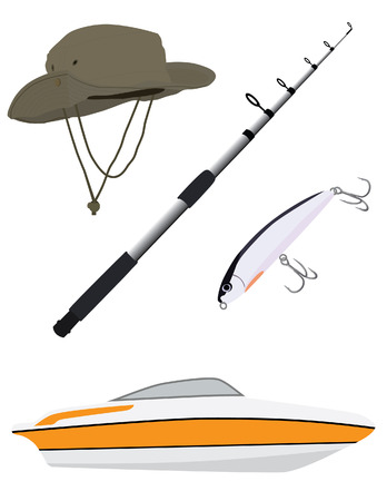 spinner: Fishing hat, rod, spinner bait and luxury boat vector icon set isolated, fishing equipment