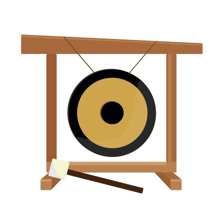 Chinese golden gong and hammer vector isolated, asian musical instrument, sport gong, traditional Illustration