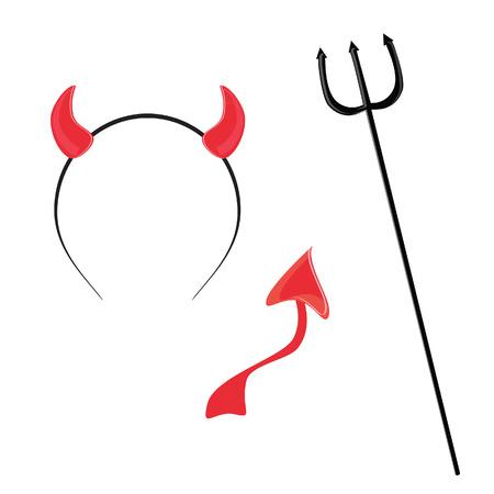 satanas: Cuerno rojo diablo, cola y tridente vector icono conjunto, máscara de halloween, tiempo del partido, Devil Wears Vectores