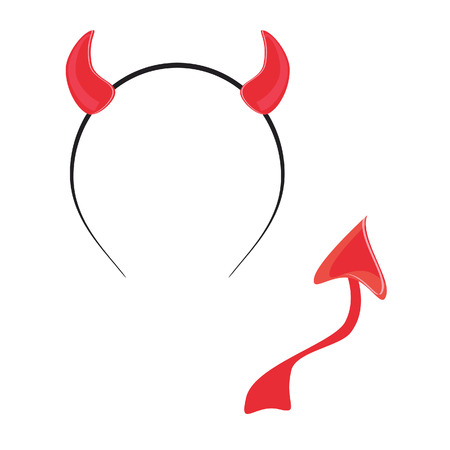 devil: Red devil horn and tail vector isolated, halloween mask, party time, devil wears Illustration
