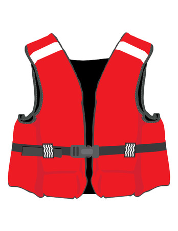 life jackets: Red life jacket vector isolated, life vest, water protective,help,  lifesaver, life preserver