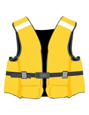 life: Yellow life jacket vector isolated, life vest, water protective,help,  lifesaver, life preserver