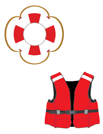 life jacket: Red life jacket and life buoy vector icon set isolated, life ring, life saver, life vest, life preserver