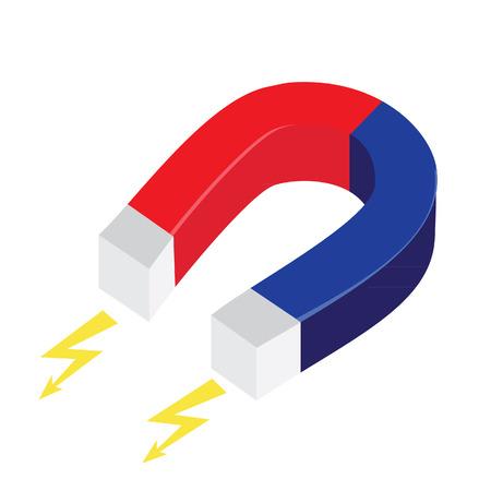 magnetismo: Magnete a ferro di cavallo Blu e rosso vettore isolato, il magnetismo, magnetizzare, attrazione Vettoriali
