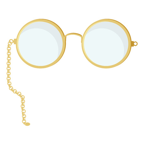 spectacle frame: Golden round eye glasses vector isolated, round spectacles,