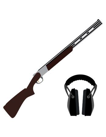 Skeet rifle and headphones for shooting, hunting rifle, sport equipment,