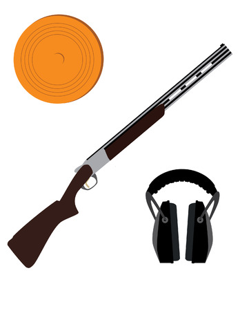 traps: Skeet rifle,headphones for shooting and clay disk, hunting rifle, sport equipment, Illustration