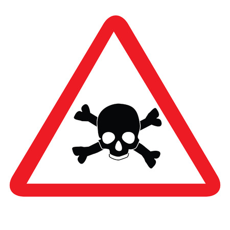 Toxic sign with skull and bones, alert sign, caution radioactive Illustration