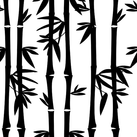 bamboo leaf: Black bamboo seamless pattern vector,bamboo tree , leaves, branches