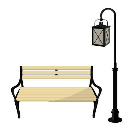 Wooden Park Bench And Street Lantern Vector Isolated On White