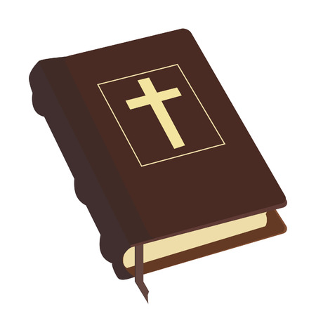 baptist: Brown old holy bible with gold cross vector icon isolated, religious bookstore, closed book