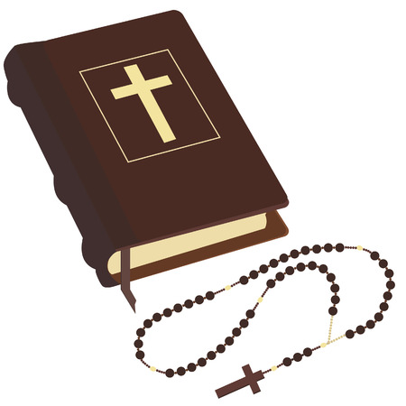 rosary: Brown closed Holy Bible and rosary beads with cross vector isolated