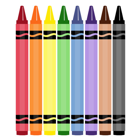 crayon: Wax  colorful crayons, blue, green, yellow, orange, grey and brow vector set collection isolated