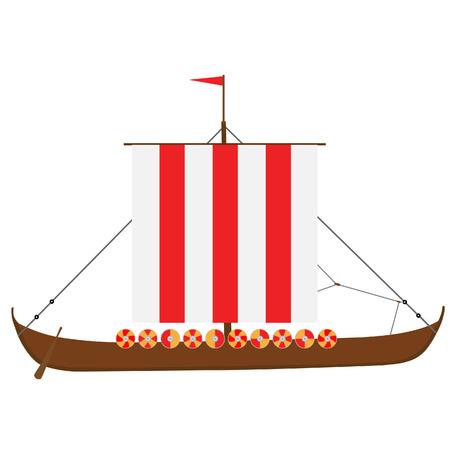 drakkar: Viking medieval drakkar ship vector isolated, warship