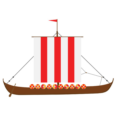 vikingo: Vikingo aislada medieval vector nave drakkar, buque de guerra Vectores