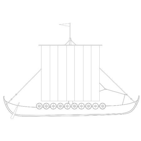 drakkar: Viking medieval drakkar ship vector isolated, warship, outline drawings