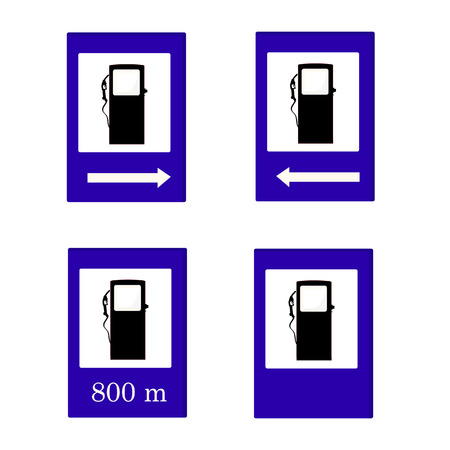 gas meter: Gas station sign vector set, left, right, eight hundred meter, gas pump