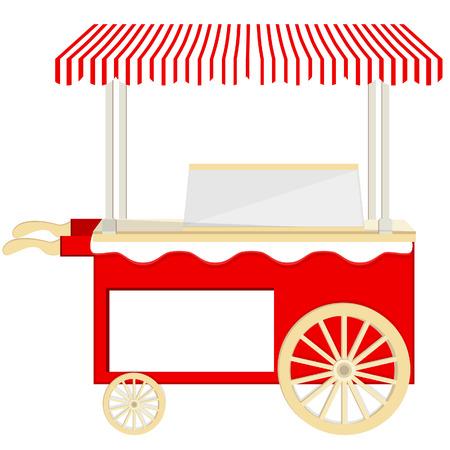 carretto gelati: Gelato cart vettore rosso icona isolato, chiosco di gelati, gelateria, gelataio Vettoriali