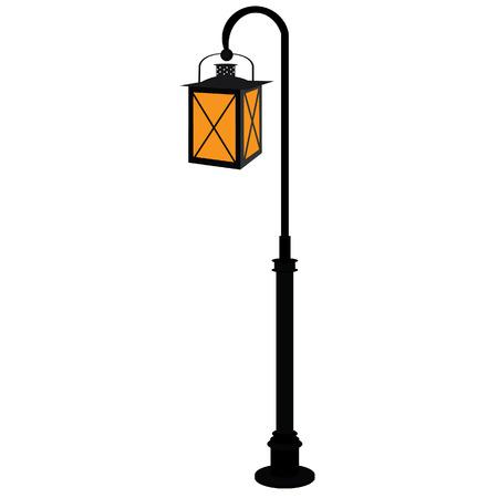 Black street lamp vector isolated,  antique street light, vintage, lampost Illustration