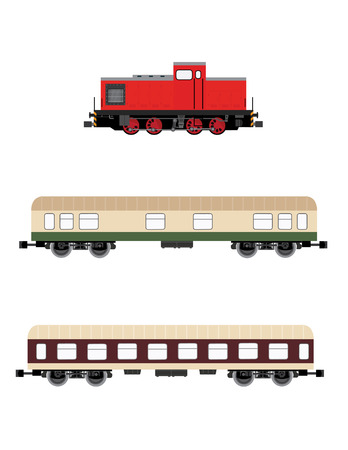 wagons: Red locomotive and two wagons vector set, children toy, transportation icons Illustration
