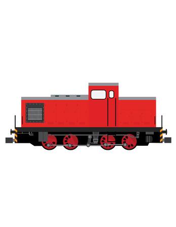 locomotive: Red locomotive vector, old locomotive, transportation, children toy locomotive Illustration