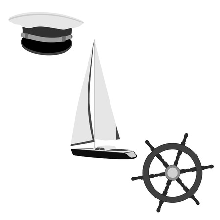 luxury yacht: Navy vector icon set- luxury yacht, ship wheel and captain hat