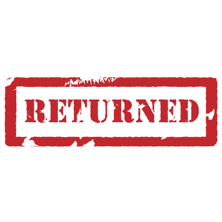 returned: Red rubber stamp with text returned vector isolated, returned stamp Illustration