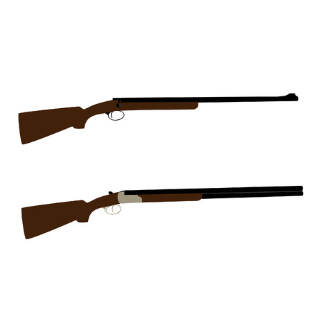 carbine: Old hunting rifle and shooting shotgun vector set isolated, military weapon