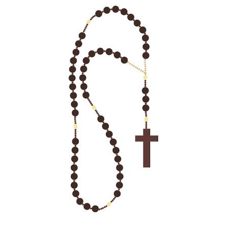 różaniec: Brown drewniane paciorki różańca, katolickie symbole religijne, różaniec naszyjnik, modląc się symbolem, paciorkami różańca Ilustracja
