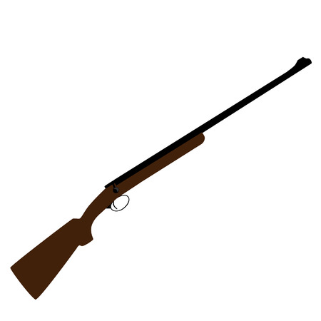hunting rifle: Old hunting rifle vector, sniper rifle, shotgun shooting, military weapon