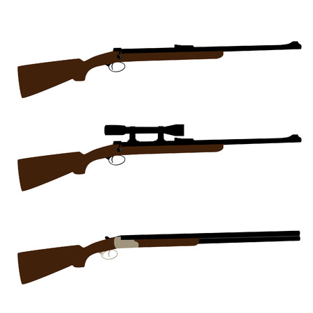 hunting rifle: Old hunting rifle, sniper rifle and shooting shotgun vector set isolated, military weapon