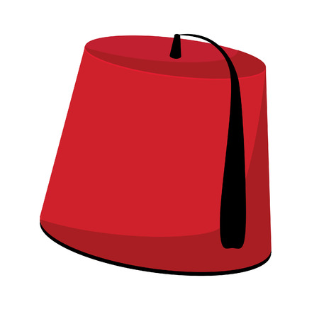 tassel: Red turkish hat with black tassel fez vector isolated on white Illustration