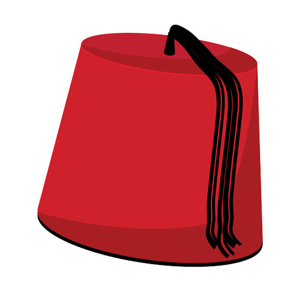 tassel: Red turkish hat with black tassel fez vector isolated on white Illustration