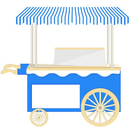 ice cream stand: Ice cream blue  cart vector icon isolated, ice cream stand, ice cream shop, ice cream vendor