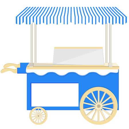 Ice cream blue  cart vector icon isolated, ice cream stand, ice cream shop, ice cream vendor