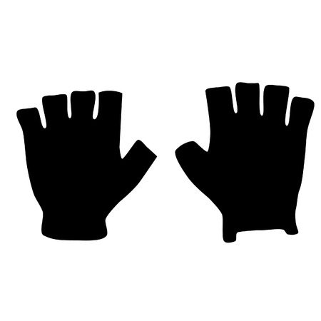 fingerless gloves: Fingerless black sport gloves vector icon isolated, winter gloves, fashion Illustration