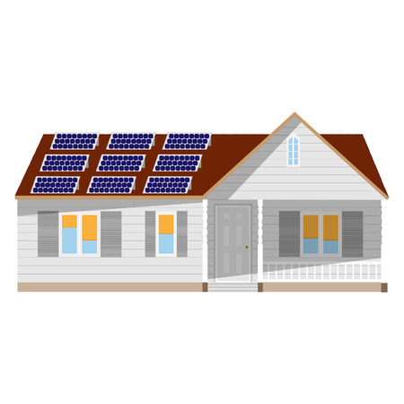 solar panel roof: House with solar battery vector isolated, ecological technology, concept, eco generation Illustration