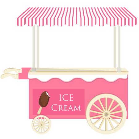 ice cream stand: Ice cream pink cart vector icon isolated, ice cream stand, ice cream shop, ice cream vendor Illustration