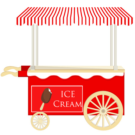 ice cream stand: Ice cream red cart vector icon isolated, ice cream stand, ice cream shop, ice cream vendor Illustration