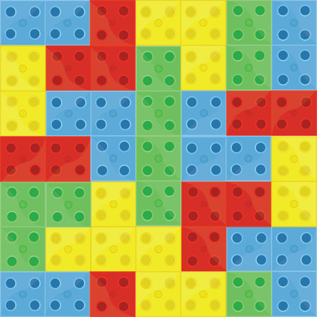 Pattern colorfull building blocks lego, blue, green, yellow and red, seamless