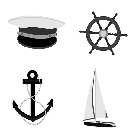 pirate crew: Navy vector icon set- luxury, race yacht, ship wheel, captain hat and anchor