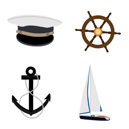 ship wheel: Navy vector icon set- luxury, race yacht, ship wheel, captain hat and anchor