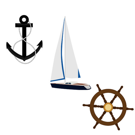 pirate crew: Navy vector icon set- luxury, race yacht, black anchor and ship wheel